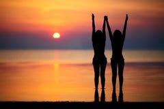 Silhouettes de deux femmes Image stock