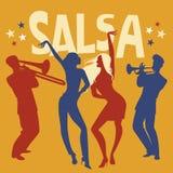 Silhouettes de deux filles dansant le Salsa Photographie stock libre de droits