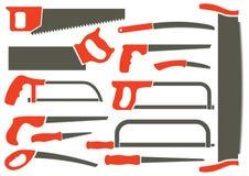 Silhouettes de différentes scies de main Illustration Stock