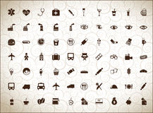 Silhouettes de différentes icônes Image stock