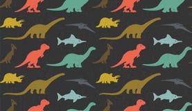 Silhouettes de dinosaures sur le fond blanc Configuration sans joint Photo stock