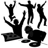 Silhouettes de disc-jockey Photographie stock
