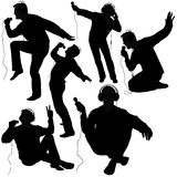 Silhouettes de disc-jockey Photo stock