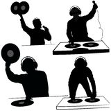 Silhouettes de disc-jockey Images libres de droits