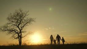 Silhouettes de famille heureuse marchant dans le pré près d'un grand arbre pendant le coucher du soleil clips vidéos