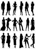 silhouettes de femme Photos stock