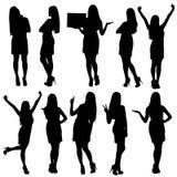 Silhouettes de femme d'affaires Photo stock