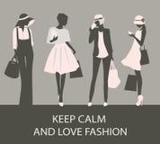 Silhouettes de femme de mode Photo libre de droits