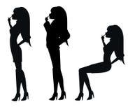 Silhouettes de femme sexy Images libres de droits