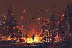 Silhouettes de femme sur le fond brûlant de village illustration libre de droits