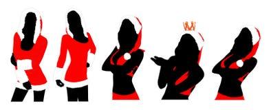 Silhouettes de femmes de nouvelle année Photographie stock libre de droits