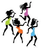 Silhouettes de fille de danse Photo stock
