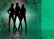 silhouettes de filles de danse Images libres de droits