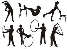 silhouettes de forme physique Image stock