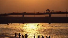 Silhouettes de foule sur la plage au coucher du soleil clips vidéos