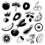 Silhouettes de fruits et légumes Image libre de droits