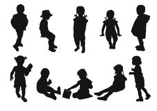 Silhouettes de gosses illustration stock