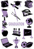 Silhouettes de graduation Photos stock
