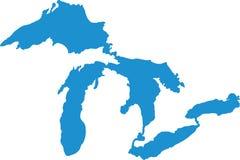 Silhouettes de Great Lakes illustration stock