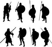 Silhouettes de guerrier illustration stock