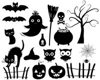 Silhouettes de Halloween de vecteur Images stock