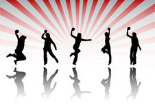 Silhouettes de handball Image stock