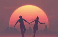 Silhouettes de jeunes couples romantiques illustration stock