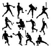 Silhouettes de joueur de baseball illustration de vecteur
