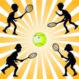 Silhouettes de joueur de tennis Image libre de droits