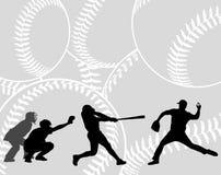 Silhouettes de joueurs de baseball sur le fond abstrait illustration libre de droits