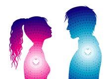 Silhouettes de l'homme et de femme Photo libre de droits