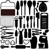 Silhouettes de la cuisson, outils de cuisson Photographie stock libre de droits