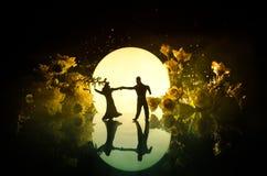 Silhouettes de la danse de couples de jouet sous la lune la nuit Figures de l'homme et de femme dans la danse d'amour au clair de Photo libre de droits