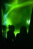 Silhouettes de la fille deux dans la disco Photos stock