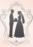 Silhouettes de la mariée et du groom_image Photographie stock libre de droits