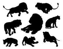 Silhouettes de lions illustration de vecteur