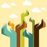 Silhouettes de mains pour l'aide - Image stock