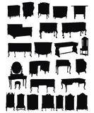 Silhouettes de meubles antiques Image stock