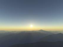 Silhouettes de montagne Photographie stock