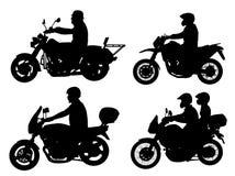 Silhouettes de motocyclistes Photographie stock