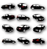 Silhouettes de noir de vecteur de voiture Image libre de droits