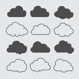 Silhouettes de nuages Ensemble de vecteur de formes de nuages Collection de diverses formes et découpes Éléments de conception po Photos libres de droits