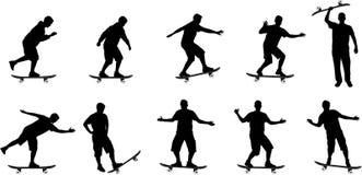 Silhouettes de panneau de patin Illustration Stock