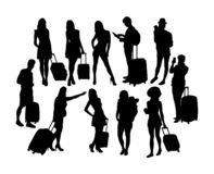 Silhouettes de personnes d'activité de voyage et de touriste, conception de vecteur d'art illustration de vecteur