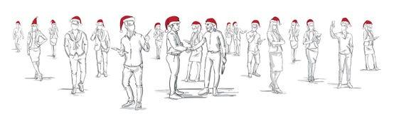 Silhouettes de personnes portant le groupe de Santa Hats Hand Drawn Men et de femme Noël blanc de fond ou la nouvelle année Image libre de droits
