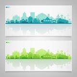 Silhouettes de petite ville et de village multicolore Photographie stock libre de droits