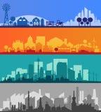 Silhouettes de petite ville et de village Collection multicolore Image stock