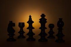 Silhouettes de pièces d'échecs Photo stock