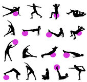 Silhouettes de Pilates Photo stock