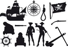 Silhouettes de pirate Photos libres de droits